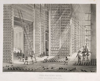 A_busy_stacking_room_in_the_opium_factory_at_Patna _India._L_Wellcome_V0019154